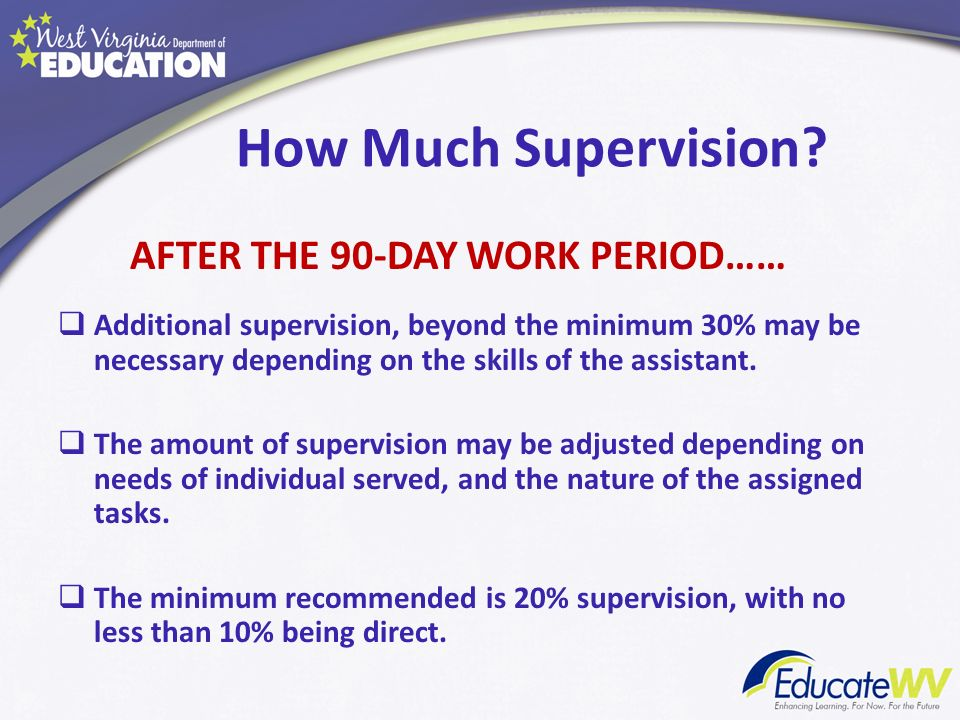 How Much Supervision AFTER THE 90-DAY WORK PERIOD……