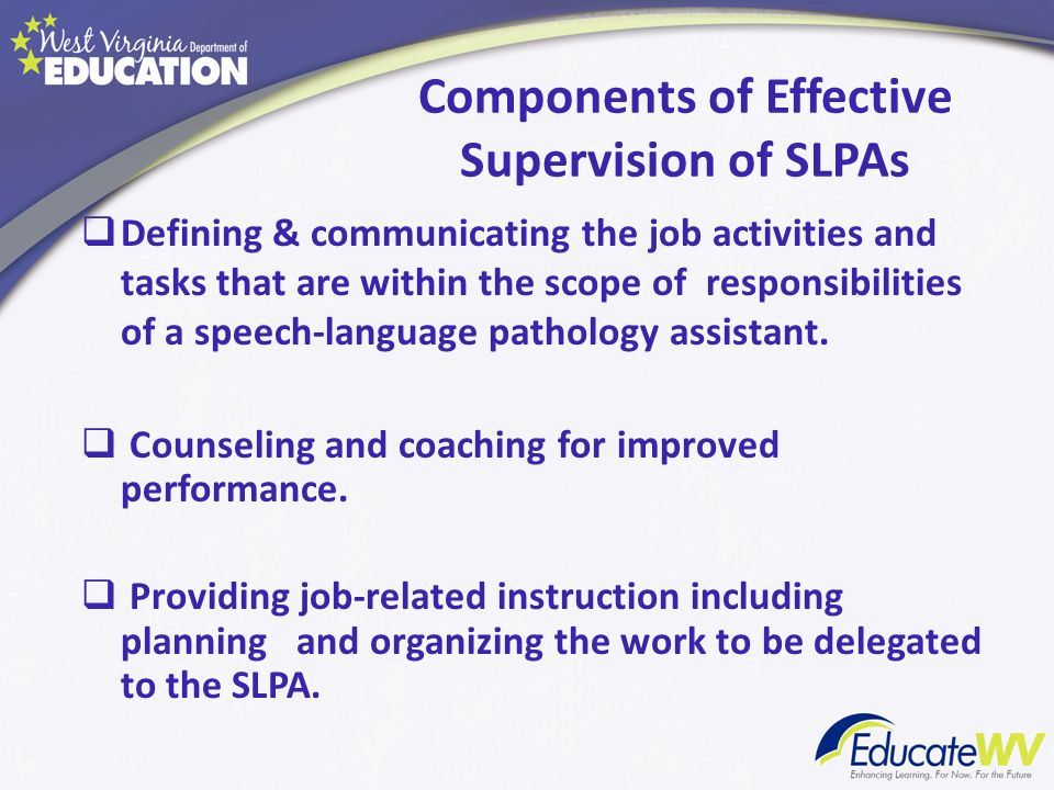 Components of Effective Supervision of SLPAs