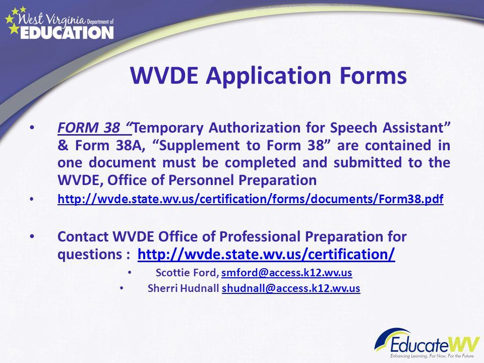 WVDE Application Forms