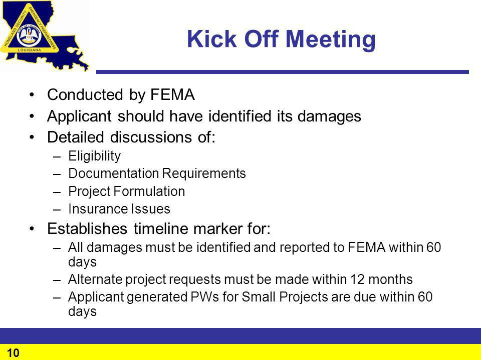 Kick Off Meeting Conducted by FEMA