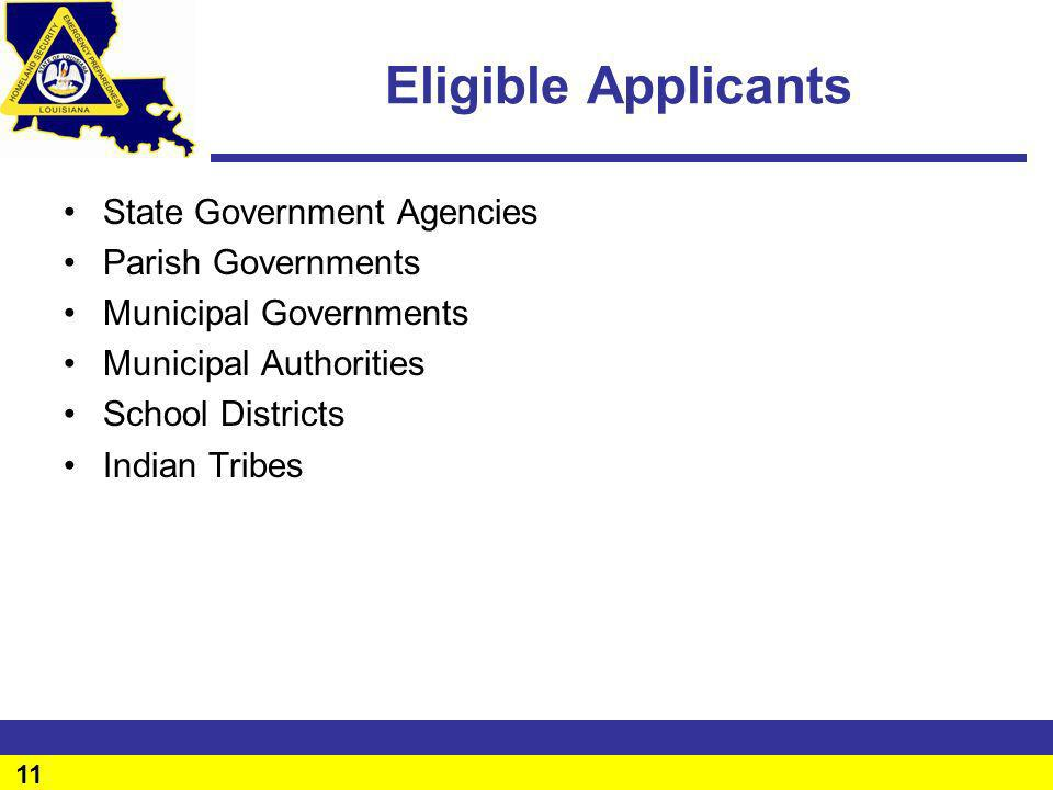 Eligible Applicants State Government Agencies Parish Governments