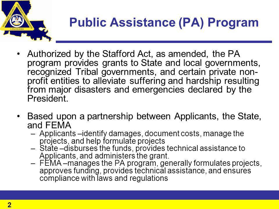 Public Assistance (PA) Program