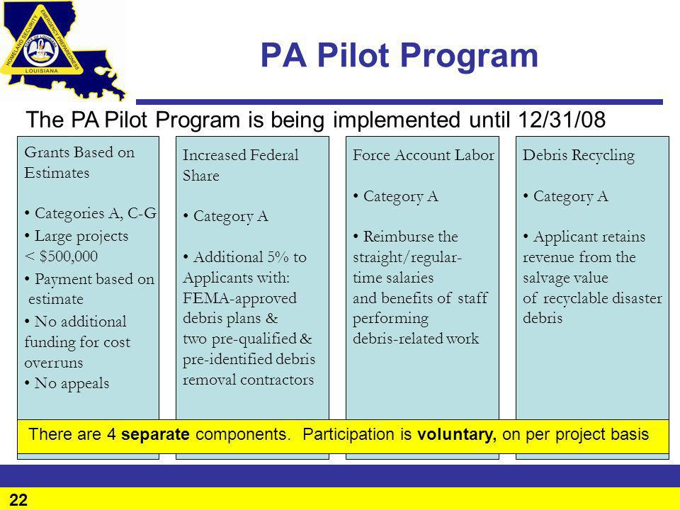 PA Pilot Program The PA Pilot Program is being implemented until 12/31/08. Grants Based on. Estimates.