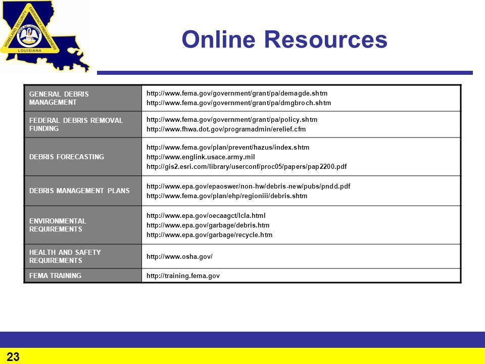 Online Resources GENERAL DEBRIS MANAGEMENT