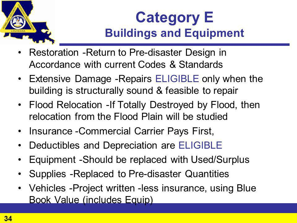Category E Buildings and Equipment
