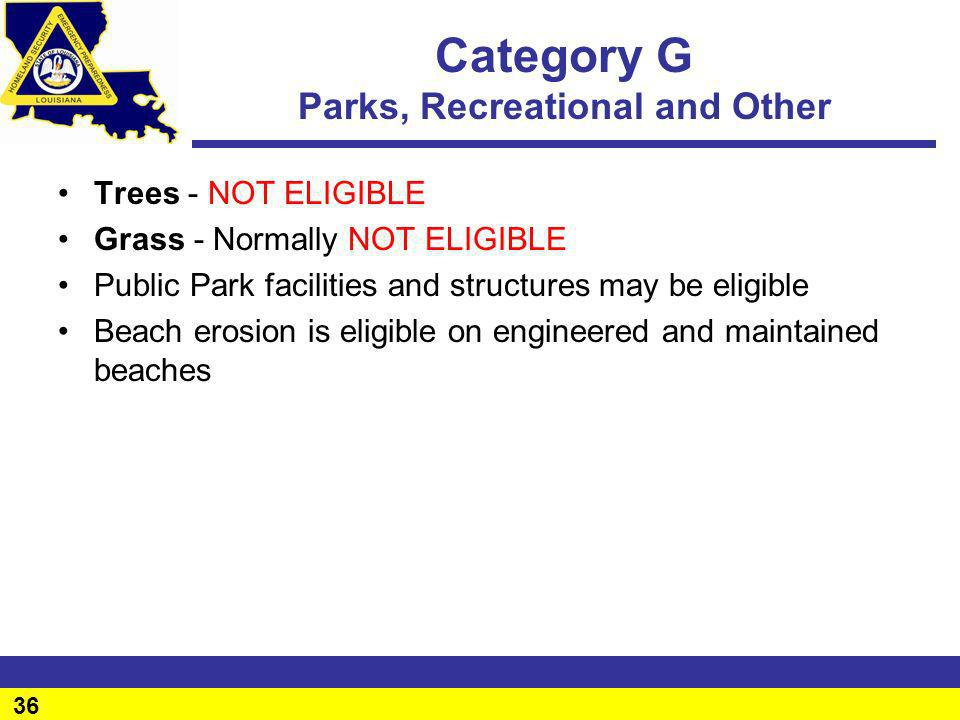 Category G Parks, Recreational and Other