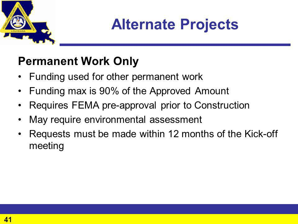 Alternate Projects Permanent Work Only