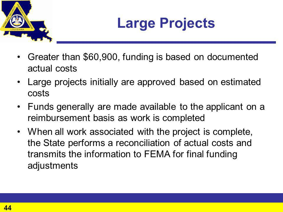 Large Projects Greater than $60,900, funding is based on documented actual costs. Large projects initially are approved based on estimated costs.