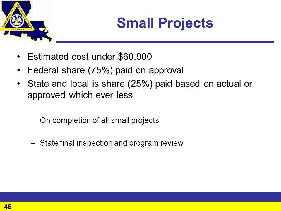 Small Projects Estimated cost under $60,900
