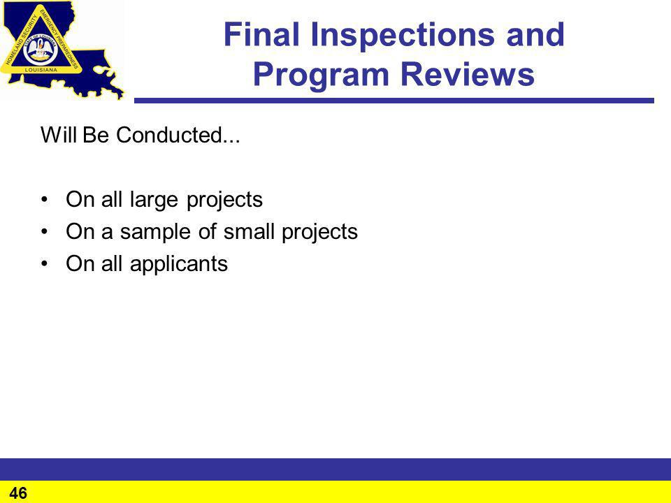 Final Inspections and Program Reviews