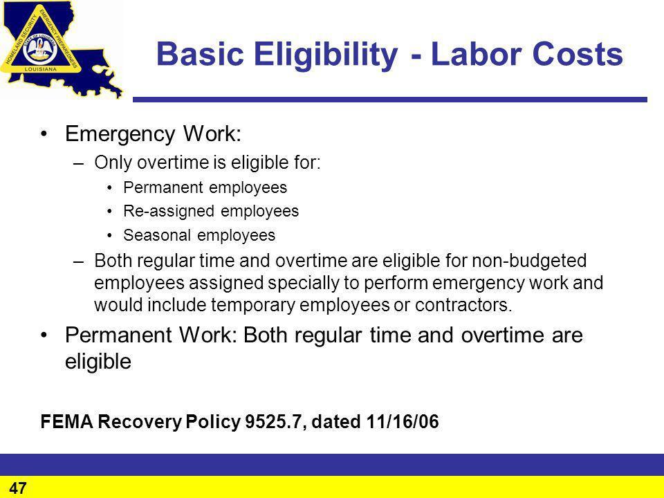 Basic Eligibility - Labor Costs