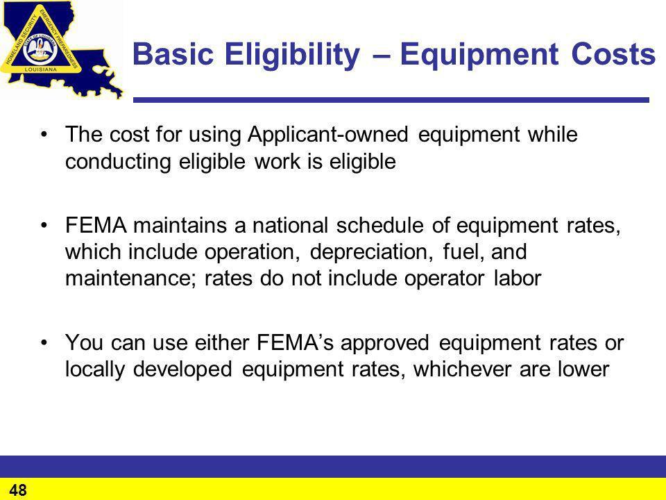 Basic Eligibility – Equipment Costs