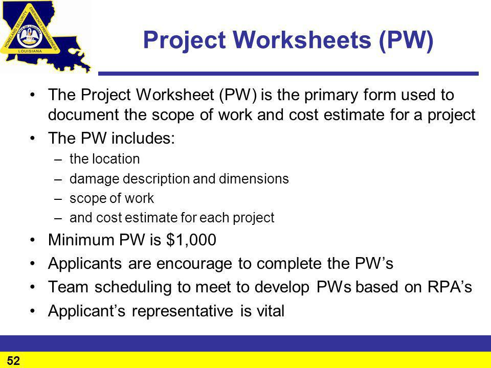 Project Worksheets (PW)