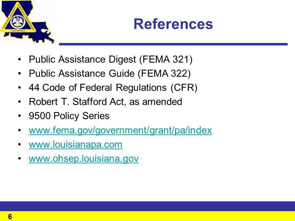 References Public Assistance Digest (FEMA 321)