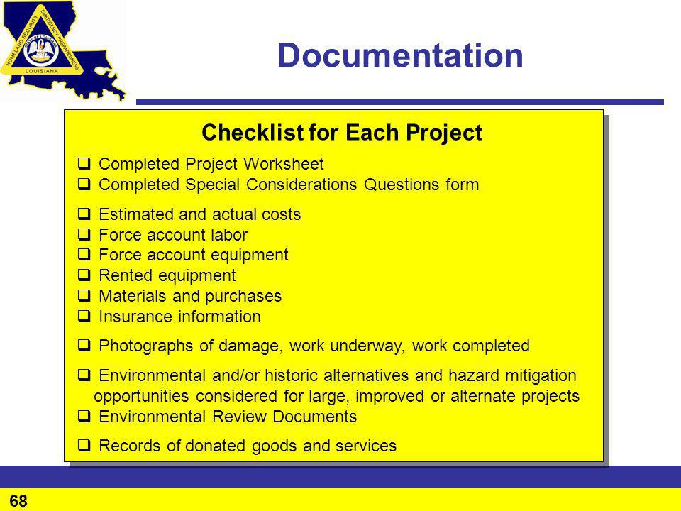 Documentation Checklist for Each Project Completed Project Worksheet