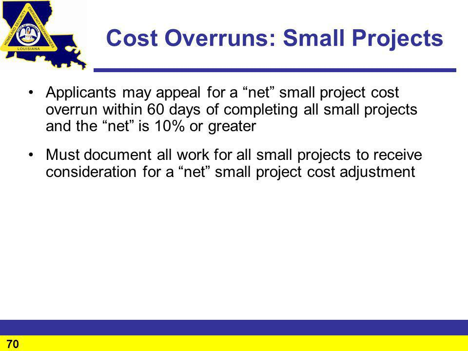 Cost Overruns: Small Projects
