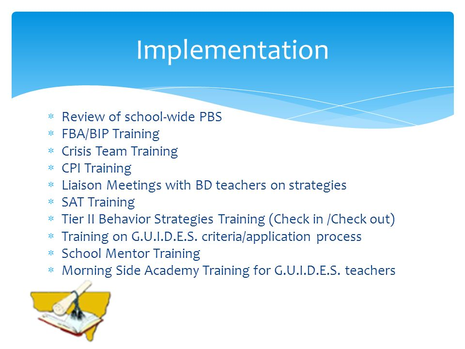 Implementation Review of school-wide PBS FBA/BIP Training
