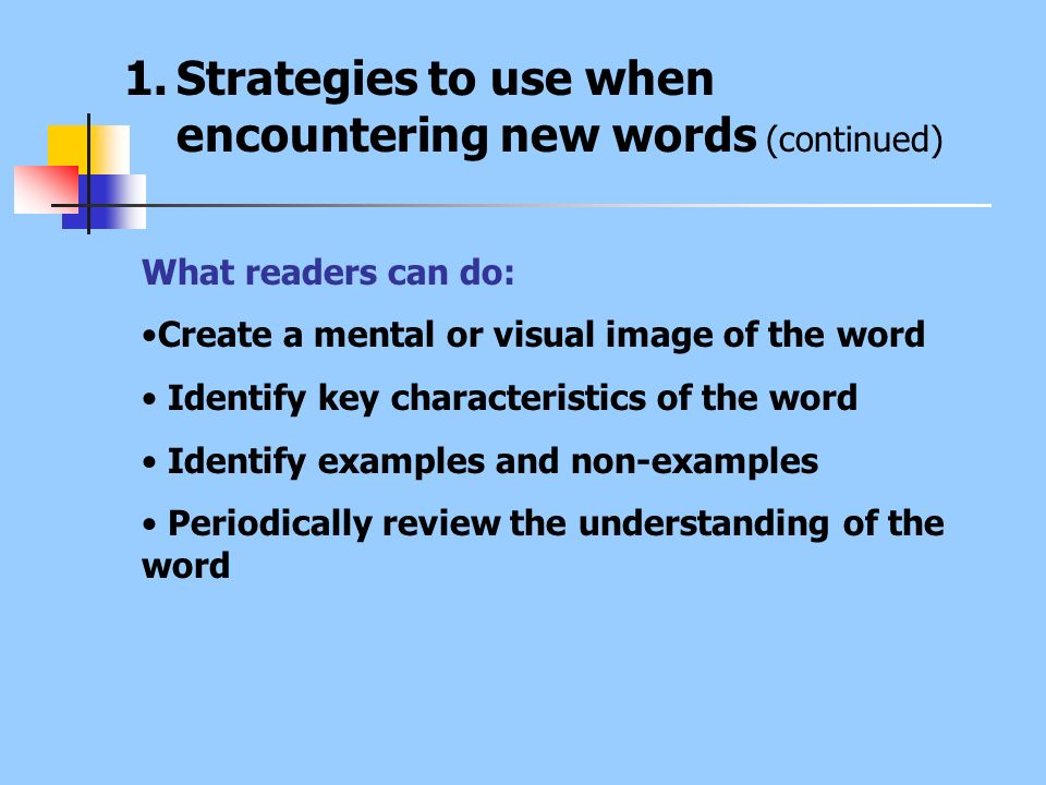 Strategies to use when encountering new words (continued)