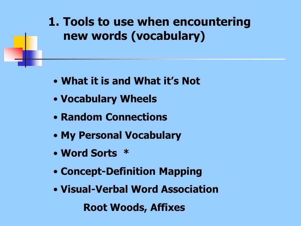 Tools to use when encountering new words (vocabulary)