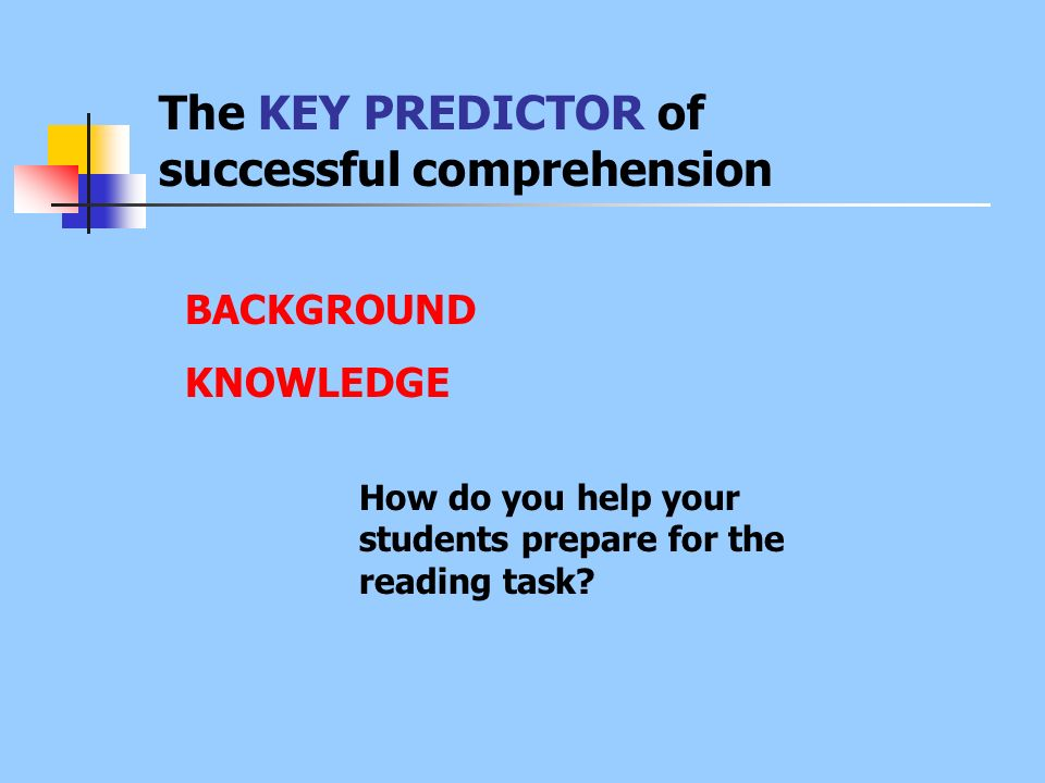 The KEY PREDICTOR of successful comprehension