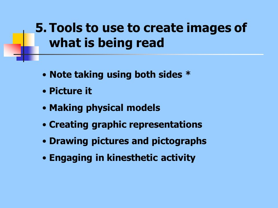 Tools to use to create images of what is being read