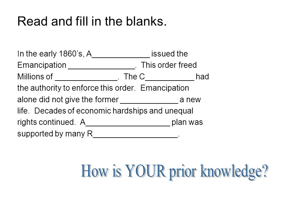 How is YOUR prior knowledge