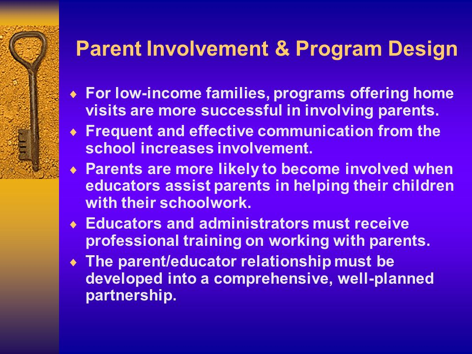 Parent Involvement & Program Design