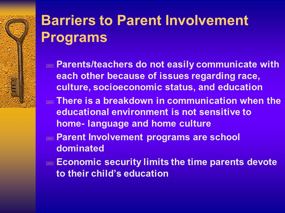 Barriers to Parent Involvement Programs