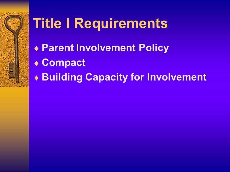 Title I Requirements Parent Involvement Policy Compact