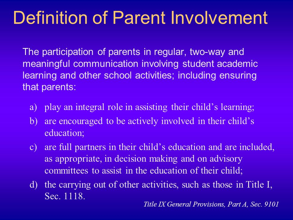 Definition of Parent Involvement
