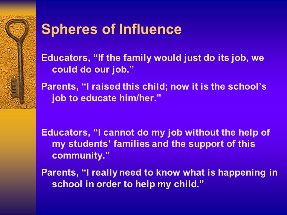 Spheres of Influence Educators, If the family would just do its job, we could do our job.