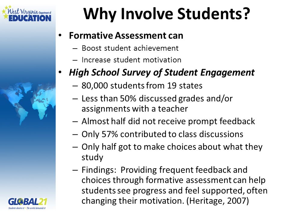 Why Involve Students Formative Assessment can