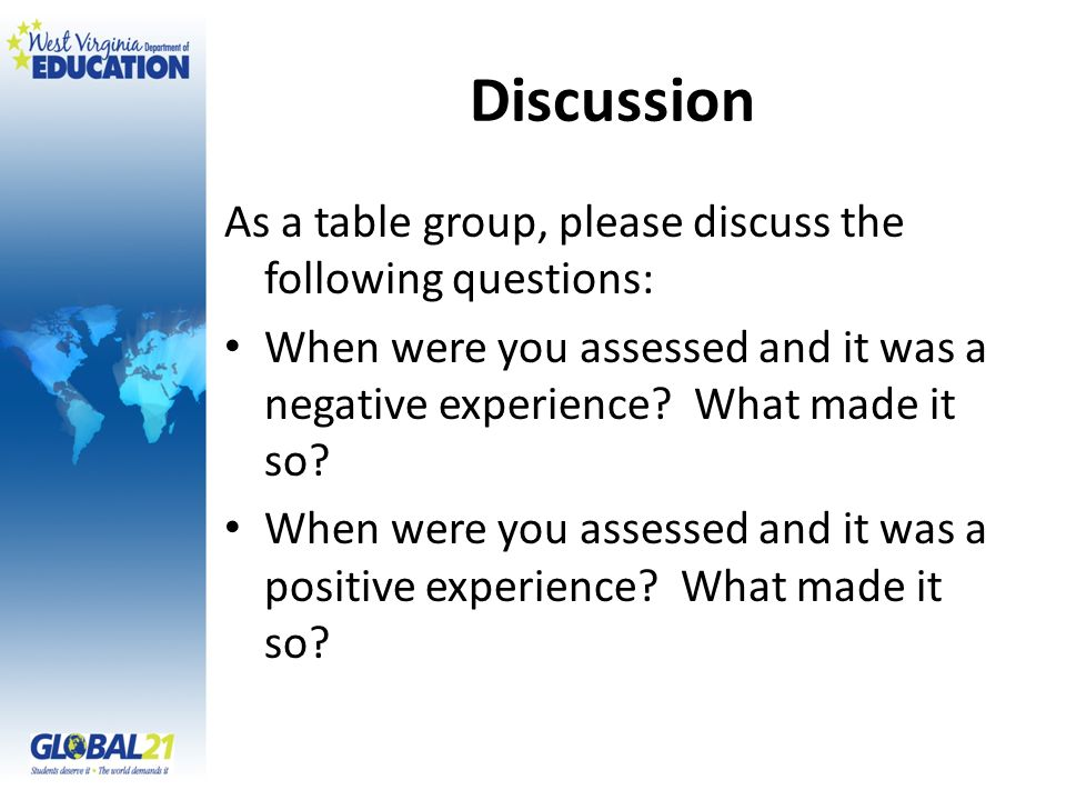 Discussion As a table group, please discuss the following questions: