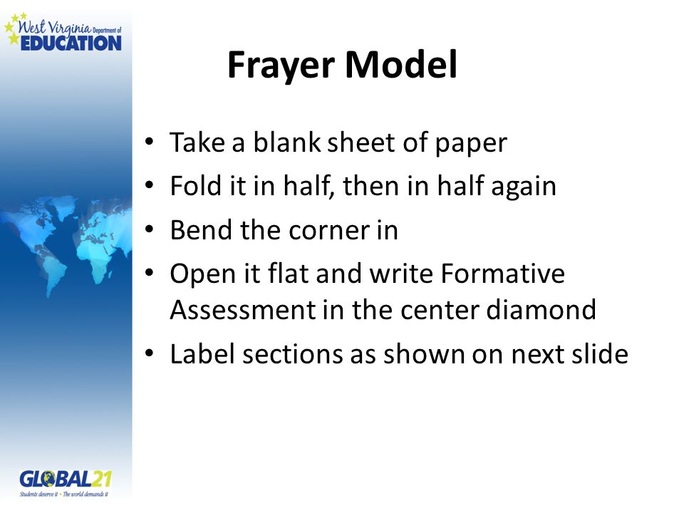 Frayer Model Take a blank sheet of paper