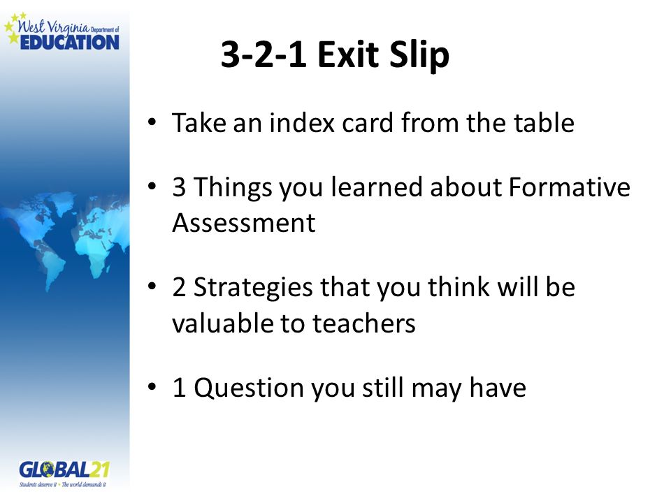 3-2-1 Exit Slip Take an index card from the table