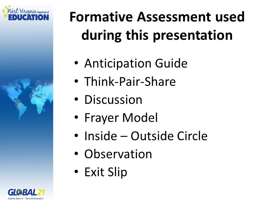 Formative Assessment used during this presentation
