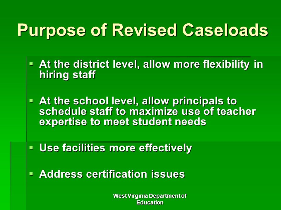 Purpose of Revised Caseloads