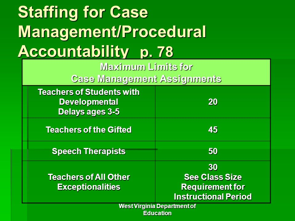 Staffing for Case Management/Procedural Accountability p. 78