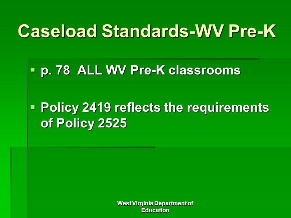 Caseload Standards-WV Pre-K