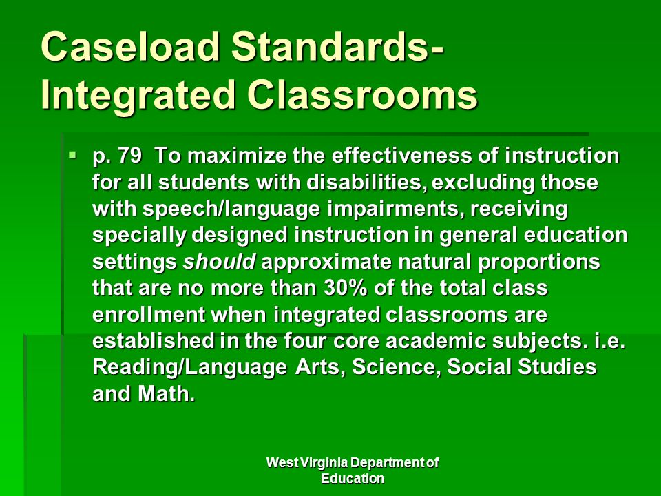 Caseload Standards-Integrated Classrooms
