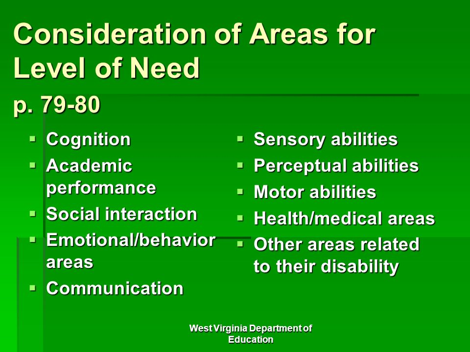 Consideration of Areas for Level of Need p. 79-80