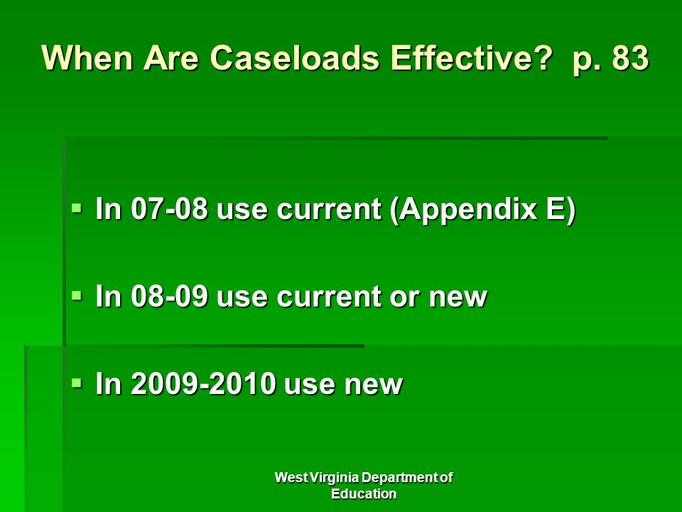 When Are Caseloads Effective p. 83