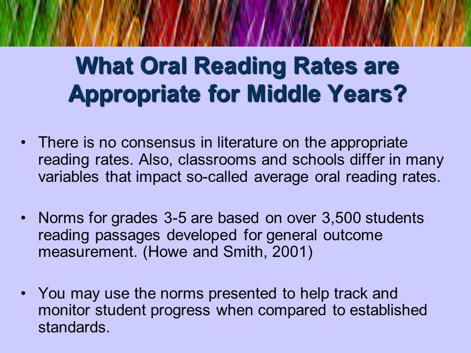 What Oral Reading Rates are Appropriate for Middle Years