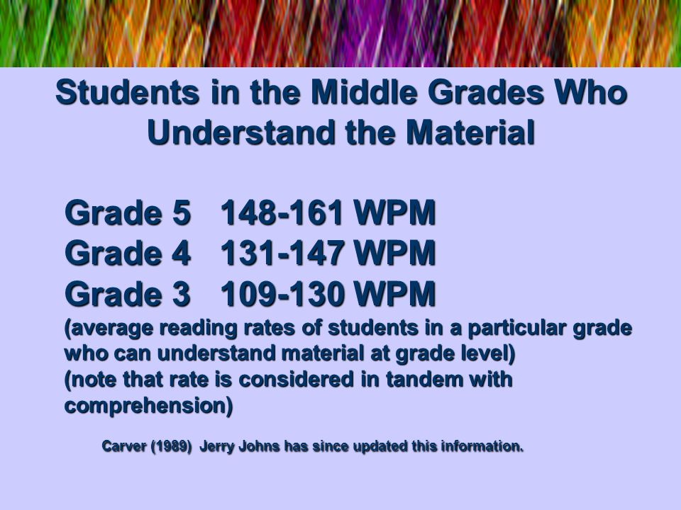 Students in the Middle Grades Who Understand the Material