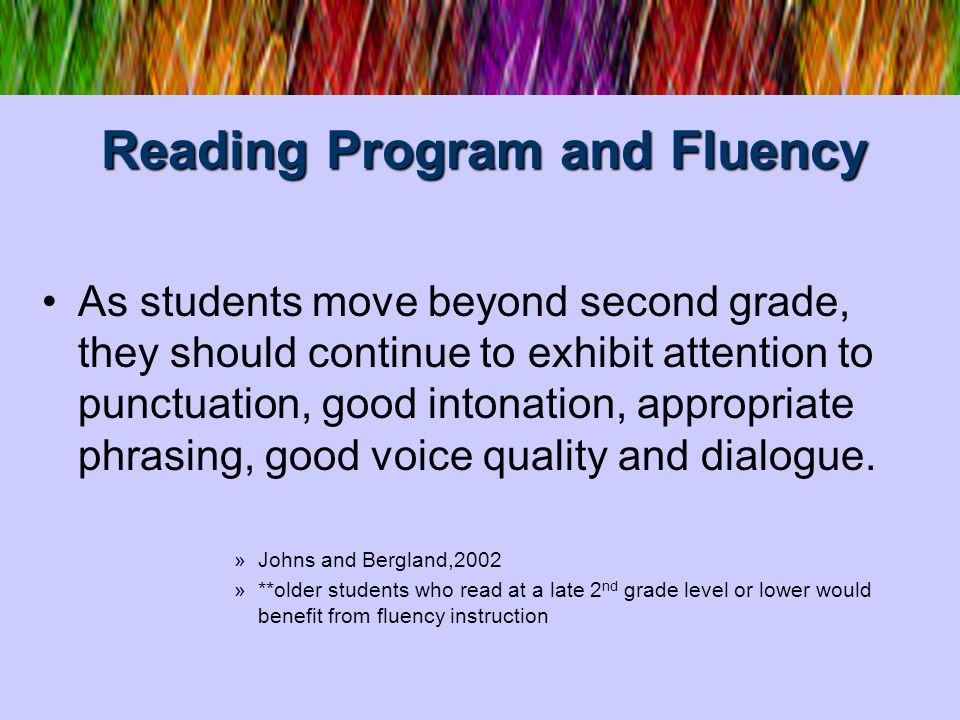 Reading Program and Fluency