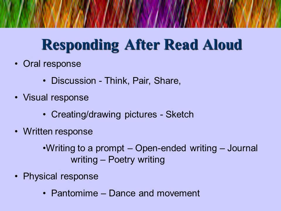 Responding After Read Aloud