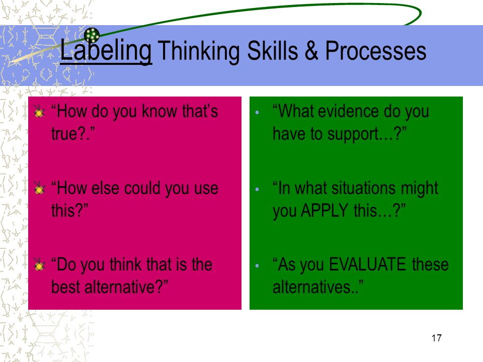 Labeling Thinking Skills & Processes