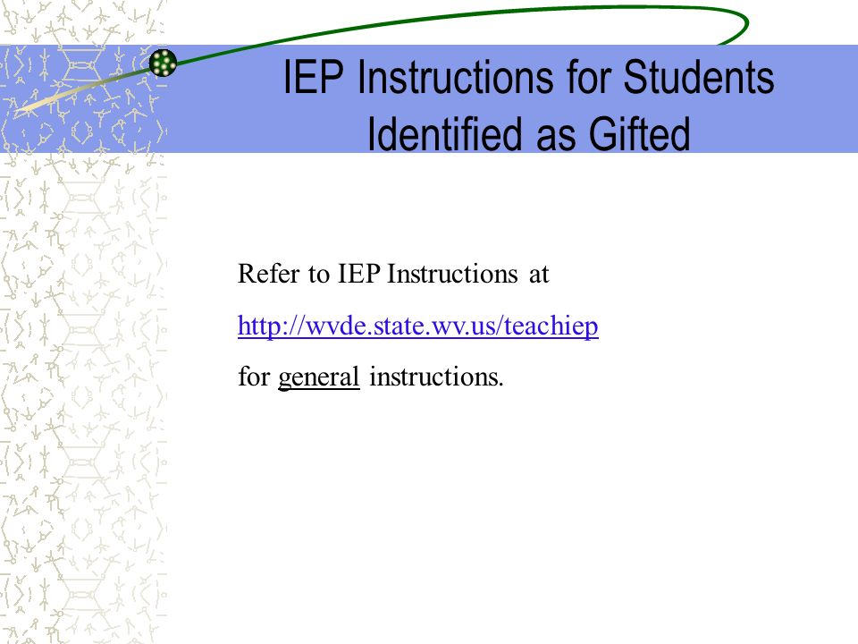 IEP Instructions for Students Identified as Gifted