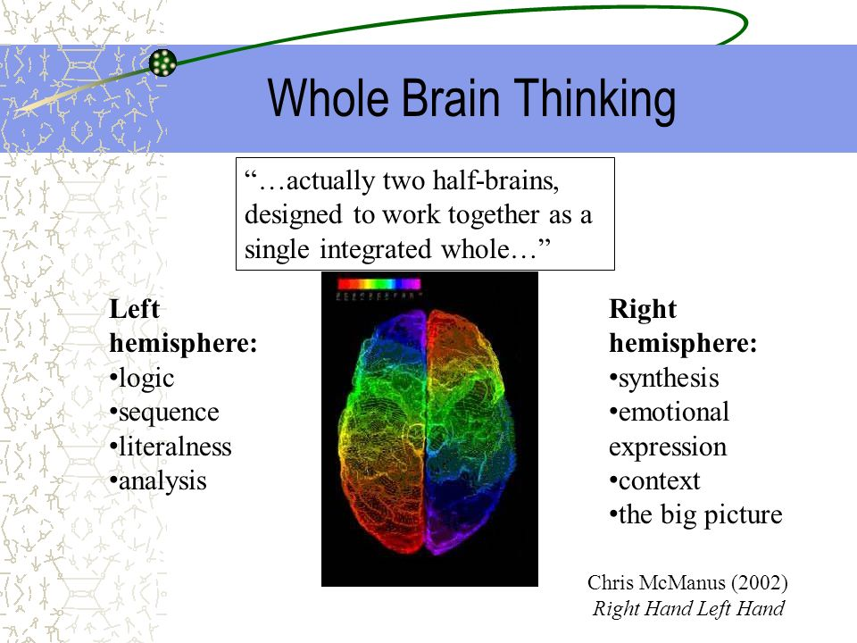 Whole Brain Thinking …actually two half-brains, designed to work together as a single integrated whole…