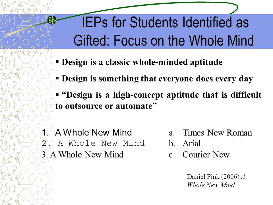 IEPs for Students Identified as Gifted: Focus on the Whole Mind